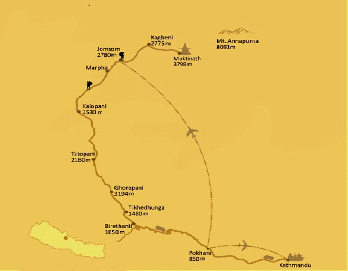 Map of Muktinath Temple Tour